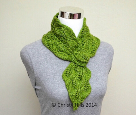 Knitted Leaves and Mock Cables Scarf Pattern by WhiteFlowerNeedle