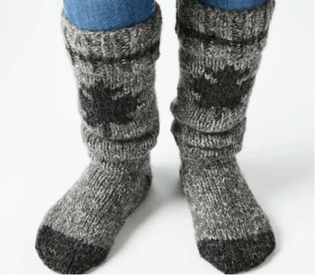 Maple Free Knitted Leaf Pattern Reading Socks by Americo Original Design Team