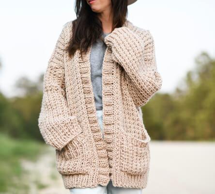 Ribbed Cardigan Knitting Pattern by MamaInAStitch