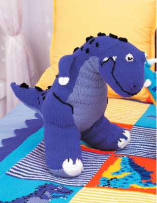 T-Rex Toy in Patons Canadiana Free Dinosaur Knitting Pattern by Patons