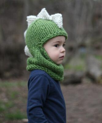 The Dino Balaclava Knitted Dinosaur Pattern by StyleMeCozy