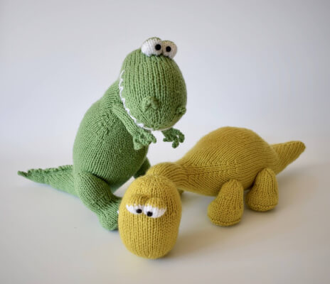 Trex and Bronty Knitted Dinosaurs Toy Patterns by Fluffandfuzz