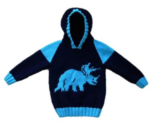 Triceratops Jumper Knitted Dinosaur Pattern by iKnitDesigns