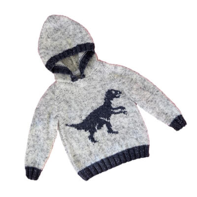 Velociraptor Dinosaurs childrens Aran Knitting Pattern by iKnitDesigns