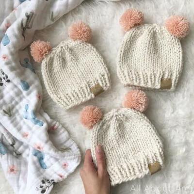 Basic Newborn Knitted Baby Hat by Stephanie Lau