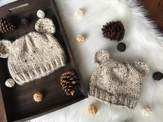 Bear Cub Newborn Knit Hat Pattern for Hospital by NorthMountainKnitsco
