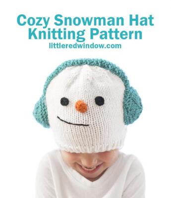 Cozy Snowman Newborn Baby Hat Knitting Pattern by Cassie May