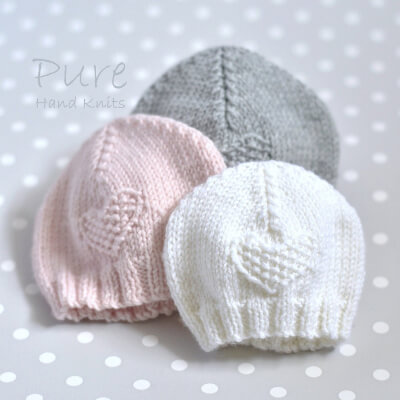 IN THE ROUND and FLAT Easy Preemie and Newborn Knit Hat Pattern for Hospitals