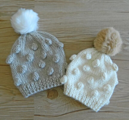 Popcorn Hat Knitting Pattern for babies, toddlers and adults by OhLaLanaDesigns