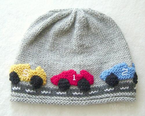 Racecar Newborn Knitted Hat Pattern by FiddleStyxStudios