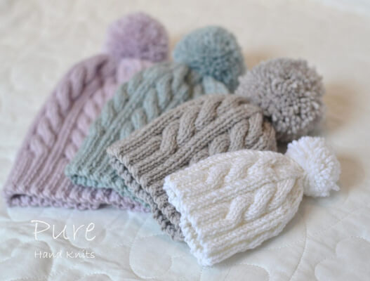 Simple Cabled Bobble Hat Knitting Pattern by PUREbyLindaWhaley