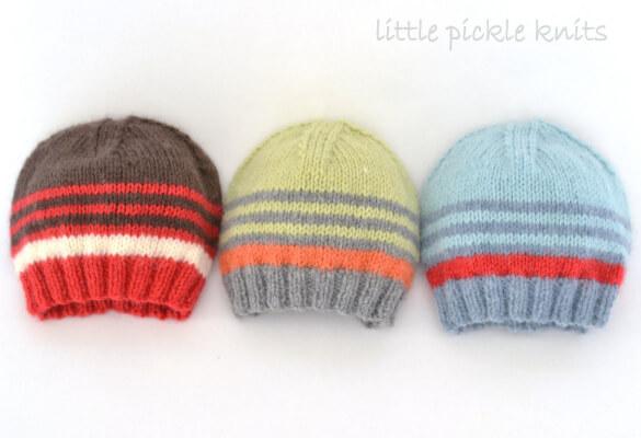 Stripy Beanie Newborn Knitted Hat by littlepickleknits