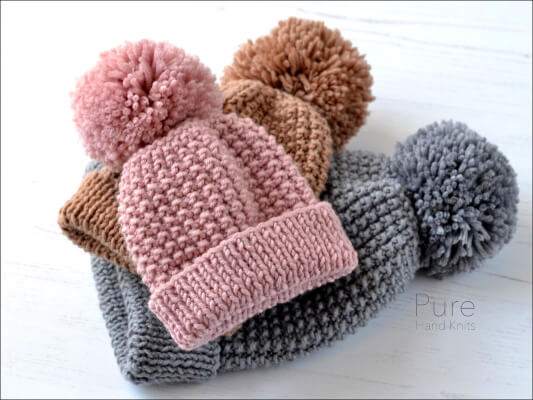 Zeke Bobble Newborn Knitted Hat Pattern by PUREbyLindaWhaley