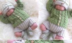 Newborn Baby Cardigan Knitting Pattern Also Incl. Hat, Trousers & Booties